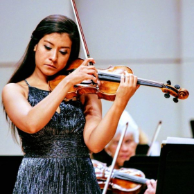 Playing Mendelssohn violin concerto with the New Horizons Symphony in New Mexico, 2017.