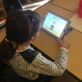 1st graders exploring digital story telling through drawings and recording their voices