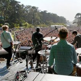 Onstage with STRFKR in San Francisco at the Outside Lands festival. 15,000 people in the audience!