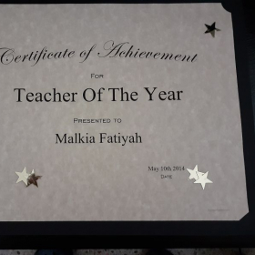 """This is my award for """"Teacher Of the Year"""" From Trinity School Of Performing Arts. 2018"""