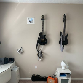 My guitars, amp, audio interface, pedal, and various picks in that little white cube in case you forget one!