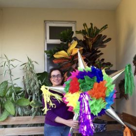 "In Mexico  getting ready for ""La Posada""  with a beautiful piñata."