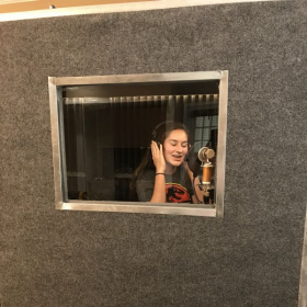 Hannah - Recording her vocal for Cinderella which she got the lead part.