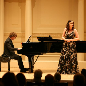 Singing in an aria recital at Carnegie Hall, July 2019