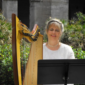 An example of a small Celtic-sounding harp, fluorocarbon strings.  A Scottish wedding, Lightner Museum courtyard, St. Augustine, FL.