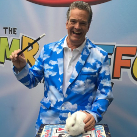 """Q= What's a family magic show without a live bunny?  A= Amazing if its the """"Mr. Jeffo Magic Show"""" (But the rabbit likes to help sometimes)"""