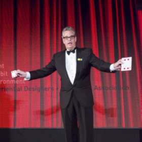 Performing for another Black-tie corporate event: Big ballroom stages need BIG magic...and at least one of these playing cards is big!