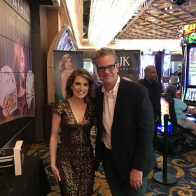 Jeff with fellow Yalie and Vegas' only female magician headliner, (at the Westgate) Jen Kramer in 2019.