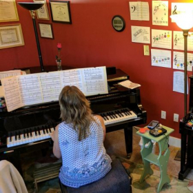 My piano room as I practice