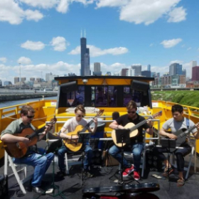 Windy City Guitar Quartet performing on the Chicago Water Taxi.  What a view!