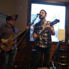 Playing bass with the Creaky Steps. Corkscrew Bar and Grill, Jersey City.