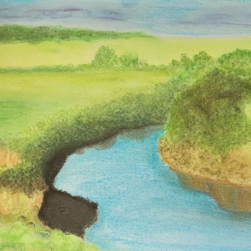Student Project: African Landscape using color pastels.
