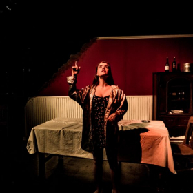 Julia as Babette in The Arsonists directed by Nik Slackman and Lyell Hintz, photo by Lyell Hintz