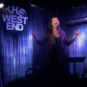 """Performing """"She Used To Be Mine"""" from Waitress the Musical at The West End Lounge's """"So You Think You Can Belt?"""" competition."""