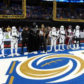 On national TV during Star Wars Day at the Tampa Forum, an event I co-organized (I'm the Imperial officer beside Darth Vader)