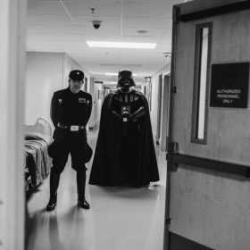 Vader and I securing All Childrens Hospital, bringing smiles to very brave kids