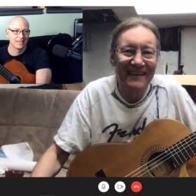 Classical guitar lessons with Scott. Probably talking about Giuliani, Carulli, Sagreras, Tarrega, Segovia, Bach...