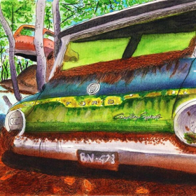 Watercolor still life, auto salvage yard