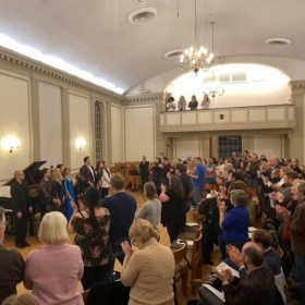 Particpants (I'm third from the left end) receiving a standing ovation after the 2020 Lindsey Christiansen Art Song Festival.