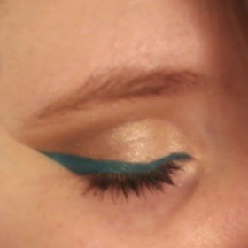 Gold Cut Crease with Teal Eyeliner