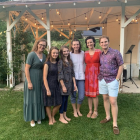 Me with some of my students at our outdoor concert August 2020.