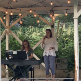 """Student performing """"The Secret of Happiness"""" from Daddy Long Legs at our August 2020 outdoor concert."""