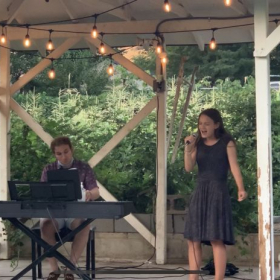 """Student performing """"Fly Me to The Moon"""" at our August 2020 outdoor concert."""