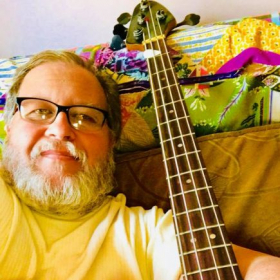 Reunited with my first electric bass, a 1972 Encore Precision.  Photo taken 2018.