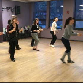 Picture from a Shim Sham (Jazz Line Dance popular in Lindy Hop) workshop