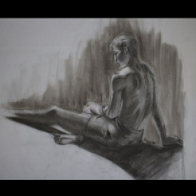 Figure Drawing, Charcoal on Parson Pad
