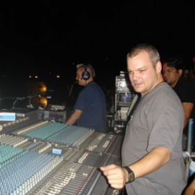 Me Mixing a Moby Show on a Yamaha PM4000 in 2003
