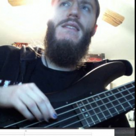 Matt and I working through some 5 string bass guitar music