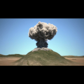 3d volcanic eruption animation using dynamic fluid simulations