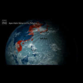 WWII map animation on a 3D globe