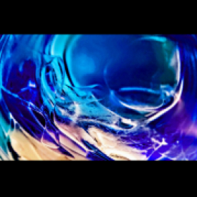 Abstracted photo of a glass of ice water with refracted light