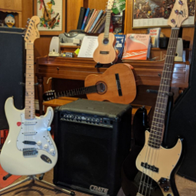 Some of my studio gear for lessons.  What would you like to play?