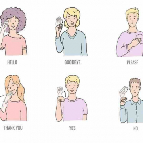 Standard Greeting, good manners, say goodbye practices signs