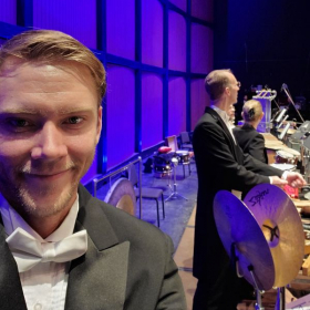 Sean getting ready to play with the Colorado Springs Philharmonic, New Years Eve.
