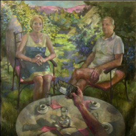 """Commissioned Family Portrait Oil on Linen 60/60"""""""