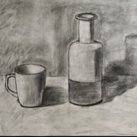 Student work 13 y.o. Drawing, charcoal on paper