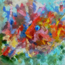 """Student work  Fish. Oil on Canvas. 35/35"""""""