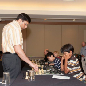 Match against World Champion Viswanathan Anand in 2012 (10 years old)