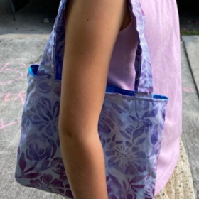 Tote bag made by an online student who was new to sewing