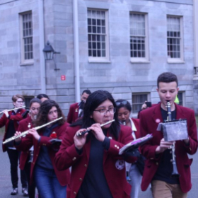 Playing the piccolo with the flutes and clarinets of the Harvard University Band!