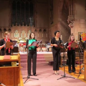 """Performing at the premiere of David MacBride's piece """"Music for a Large Space."""""""