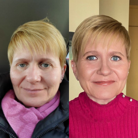 Joyce-Before & After her Makeup Lesson. Joyce's Review is on this site. We had a great time together !