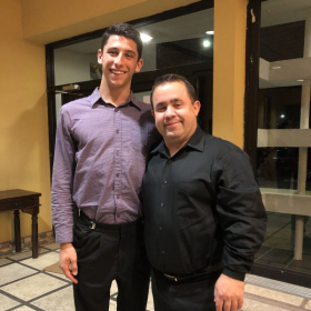 Me and notable trumpet performer & pedagogue, Jean Christophe Dobrzelewski after our performance with the Aruba Symphony Orchestra.