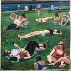 """Atsushi's Acrylic Painting """" People in Park in NY"""""""