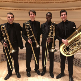 Juilliard low brass section at Carnegie Hall.