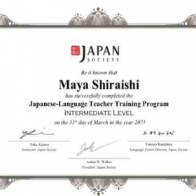 Finished Japanese teacher training program in March 2021